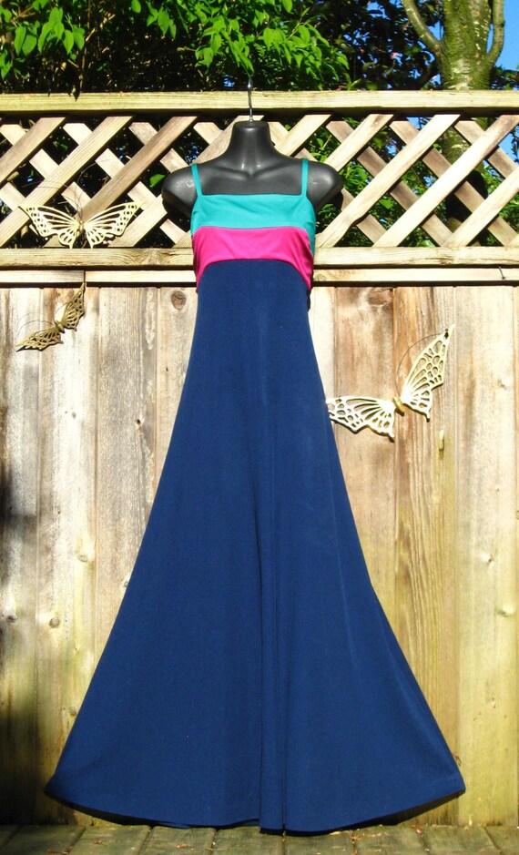 Vintage 70s Striped DISCO Maxi Dress and Cape Shawl S M