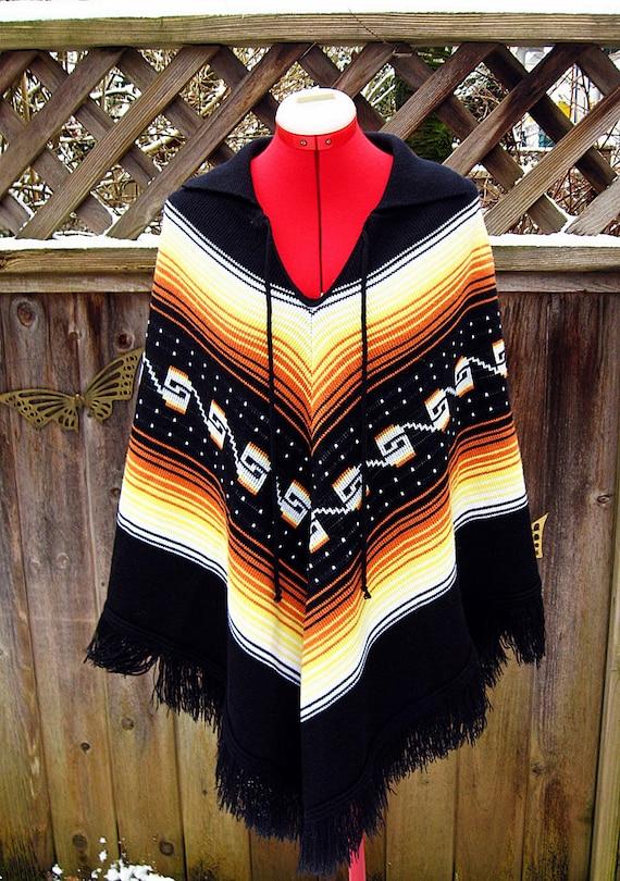 Vintage 70s Ethnic CHEVRON Stripe FRINGED Poncho Sweater OS