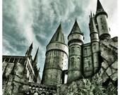 Photography Home Wall Art Castle Harry Potter Hogwarts Graphic Square Colour - Hogwarts Castle (grey)