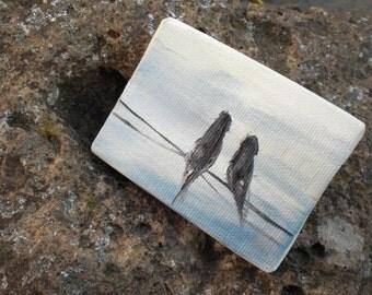Romance. -  ORIGINAL Oil on Mini Canvas - 2.5x3 inches FREE SHIPPING Worldwide