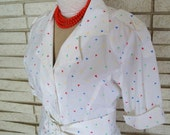 Vintage White Cotton  Dress with Primary Color Polkadots 70s