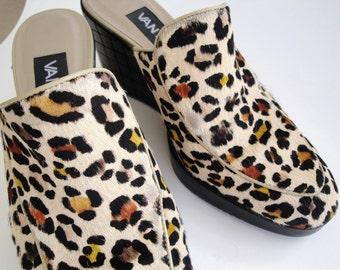 Womens Shoe Vintage Leopard Print Pony Hair Designer Slide Clog Animal