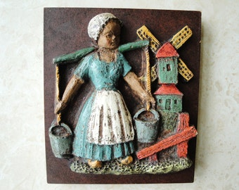 Vintage Dutch Wall Hanging  Dutch Girl Parastone
