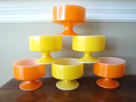 Dessert Dish Set 70s Orange and Yellow Fire King Compote