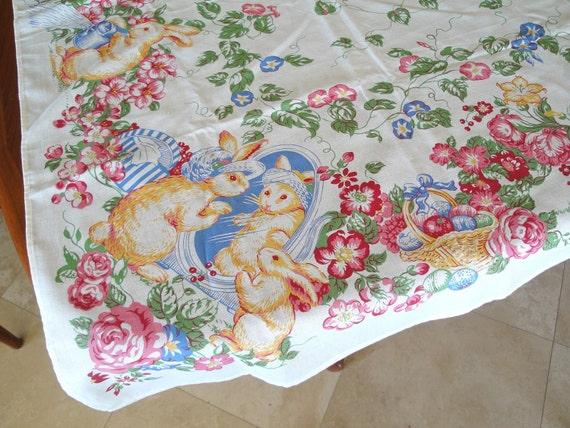 Sale Easter Tablecloth Vintage Spring Bunnies