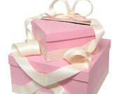 Pink and Ivory Wedding Gift Card Box money holder with Pearls