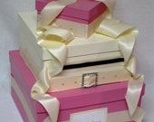 Pink and Ivory Wedding Money Gift Card Box, centerpiece, wishing well
