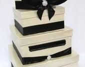 Wedding Card Box with Hydrangea flower & Crystal Monogram, money holder, gift box, centerpiece, wishing well
