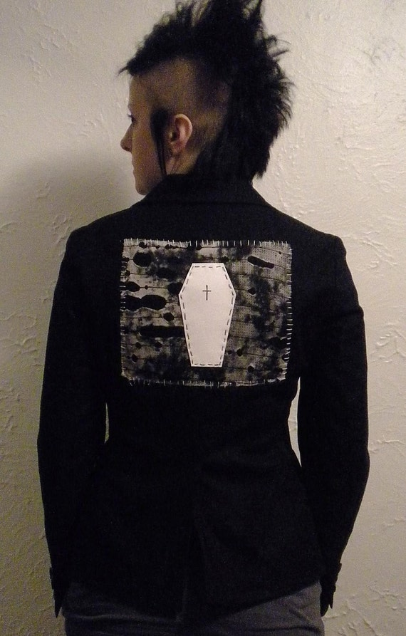 Diy Deathrock Blazer Goth Jacket Coffin Back Patch Upcycled