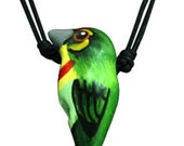 Handpainted Clay Whistle Nacklace, Coppersmith Barbet Bird