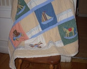 SALE  Boats, planes, and rocking horses crib quilt