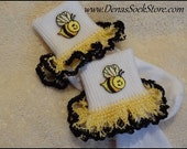 Boutique Crocheted Lace Ruffle Pageant Socks Custom Bumble Bees Honey Bees