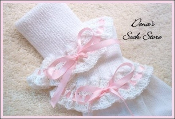 Boutique Crocheted Lace Ruffle Pageant Socks Custom Pink Satin Ribbon Bow