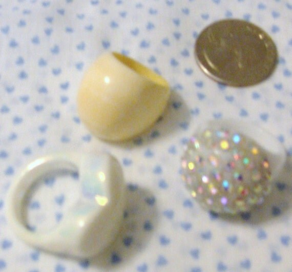"""3 Rings, Vintage Real Ivory Ring size 5 1/2,  Opalescent Ring is 8 1/2"""", Rhinestone one size 8"""