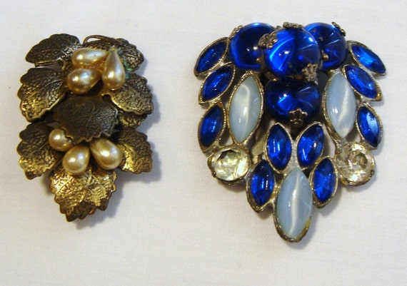 """OLD Dress CLIPS not shoe clips/Blue one with glorious Stones 2""""/Leaf Pearl One is 1 1/2"""""""