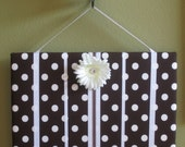 Hair Bow Board Organizer: Brown and White Polka Dot with optional headband holder (16 x 20)