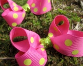 "3"" Boutique Pigtail Hair Bow Set: Pink and Lime Green Polka Dots"