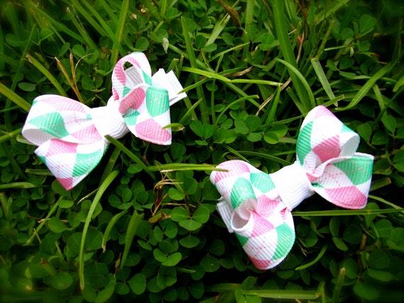 Mini Hair Bows - Pink and Green Argyle