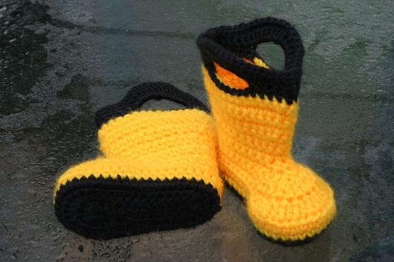 Crochet Pattern Baby Rain Boots : Baby Rain Boots Handmade Crochet Yellow and Black