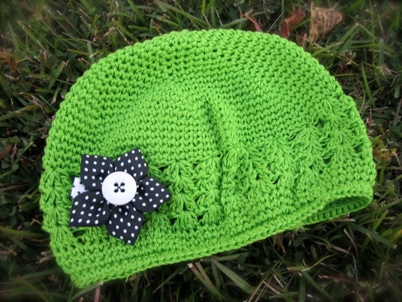 Crochet Beanie - Lime Green with detachable Black and White Polka Dot Star Flower Clip - Toddler/Child Size