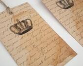 Vintage Crown Handmade Gift Tags Set Of 5