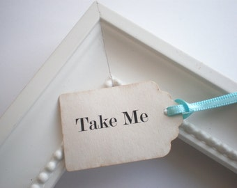 Favor Tags, Take Me Tags, Alice In Wonderland, Set Of 24, Choice Of Ribbon Colors