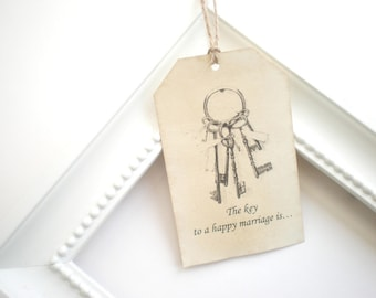 Wish Tags, The Key To A Happy Marriage Is, Wedding Wishes, Set Of 50