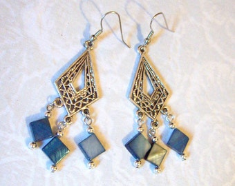 Blue Shell and Silver Beaded Chandelier Earrings