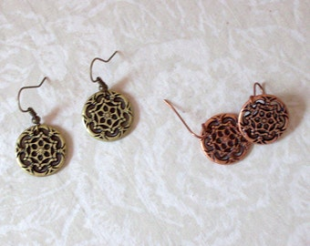 CLEARANCE Copper Filigree Disc Earrings
