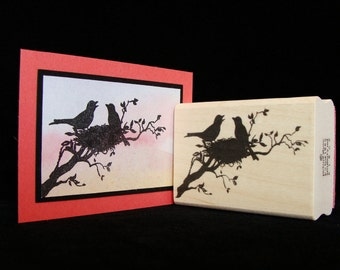 birds on a branch rubber stamp