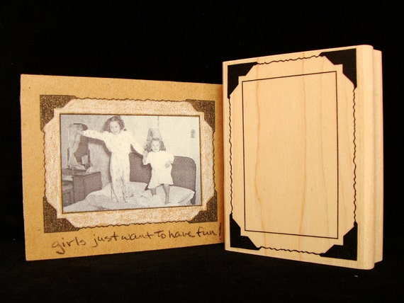 vintage style photo frame rubber stamp