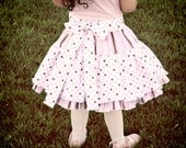 Girls skirt retro 1950s ice cream soda fountain art vintage inspired with ruffles, stipes & polka dots
