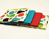 Pears and Apples 100% cotton baby burp cloths (Set of 4)......Makes a Great Gift