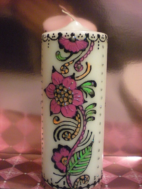 Mehndi Candles Personalised : Reserved for ladywintermute two floral henna design