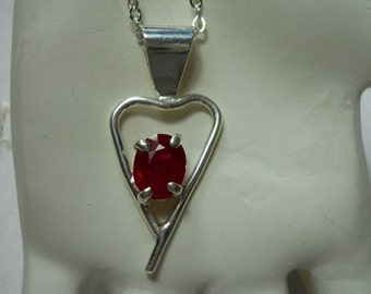 Ruby Gemstone Heart Pendant