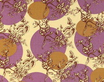 Tina Givens -  Treetop Fancy - Gossip Tree in Eggplant plum purple brown tan cotton quilting fabric - BTY