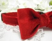 Valentine's Dog Collar & Bow Tie Set - Red Velvet - Any Size - Item 3007