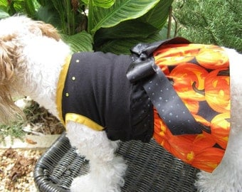 Halloween Dog Dress - XSmall - Ready to Ship - Jack O Lantern