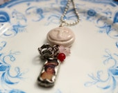 Pink cross ceramic pendant with crown and soldered  sweet girl charm