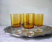 Vintage Luminarc Wine Glasses in Amber - set of 4 - Gift for the Hostess