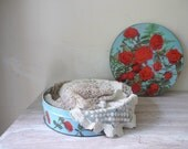 RESERVED for SHAYNE - Pretty Blue Tin with Red Roses - Vintage Organizer/Storage
