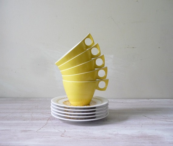 Vintage Ornamin Ware Cups and Saucers in Sunny Yellow - Set of 5