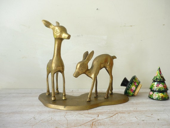 Vintage Brass Deers on stand