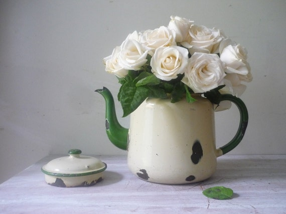 RESERVED for Meg - Old Chippy Enamel Teapot - large vase/ rustic wedding/home decor
