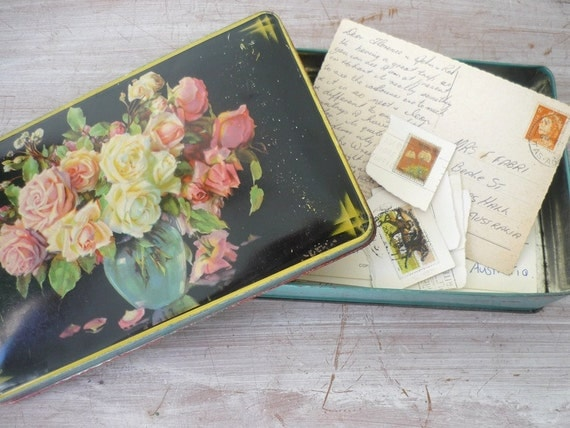Old Toffee Tin with postcards and stamps
