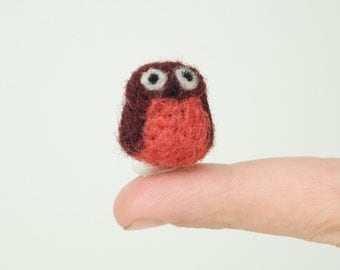 Miniature Needle Felted Pocket Owl in Red