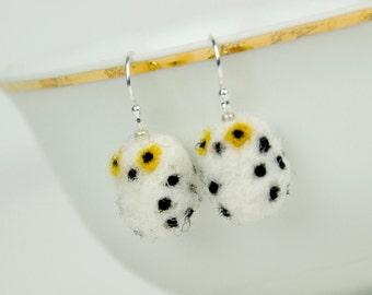 Miniature Needle Felted Snowy Owl Sterling Silver Earrings