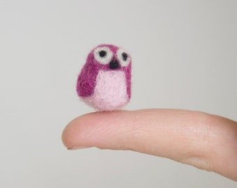 Miniature Needle Felted Pocket Owl in Pink