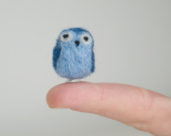 Miniature Needle Felted Pocket Owl in Blue with a Widow's Peak