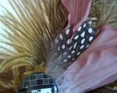 Vintage Face Feather Hair Piece